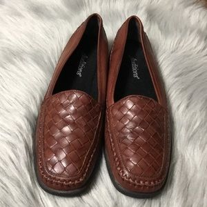 AUDITIONS BROWN WOVEN LEATHER LOAFERS